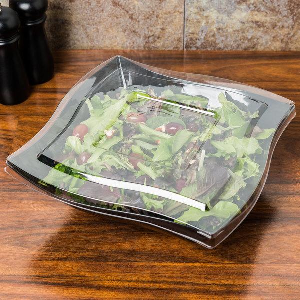 Fineline Wavetrends 128-BK Black Plastic Serving Bowl 128 oz. - 25/Case