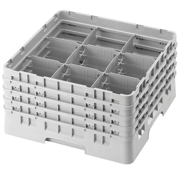 "Cambro 9S638151 Soft Gray Camrack Customizable 9 Compartment 6 7/8"" Glass Rack Main Image 1"