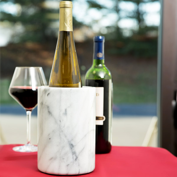 "Tablecraft 5488W White Marble Wine Cooler - 7"" x 5"""