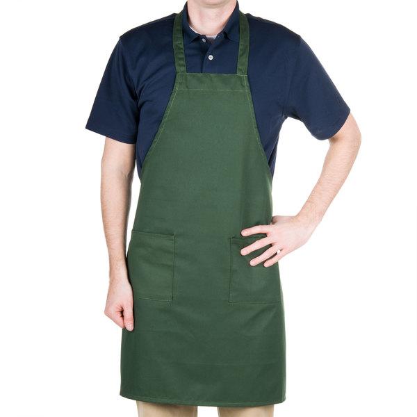 "Choice Hunter Green Full Length Bib Apron with Pockets - 34"" x 32""W"