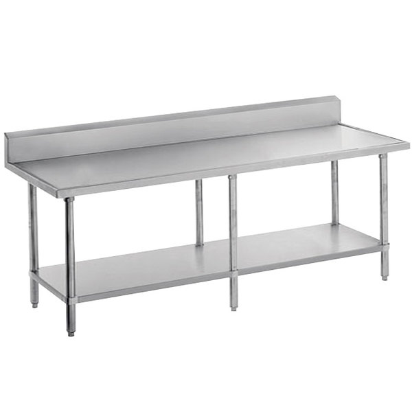 "Advance Tabco VKS-2412 Spec Line 24"" x 144"" 14 Gauge Work Table with Stainless Steel Undershelf and 10"" Backsplash"