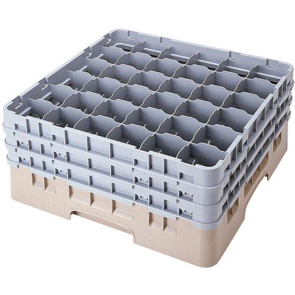 "Cambro 36S1058184 Beige Camrack Customizable 36 Compartment 11"" Glass Rack"