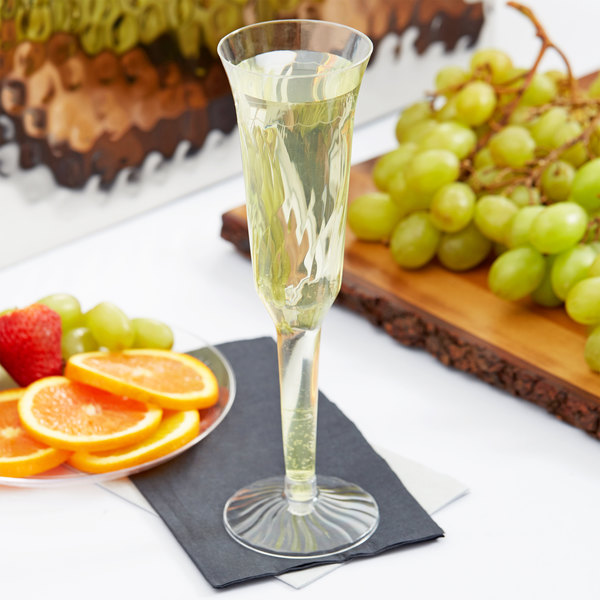 Fineline Flairware 2105 5 oz. Clear Plastic 2 Piece Champagne Flute - 10/Pack