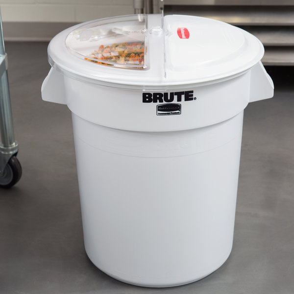Rubbermaid FG9G7400WHT ProSave Brute 20 Gallon / 320 Cup White Flat Top Ingredient Storage Bin with Sliding Lid & Scoop Main Image 4