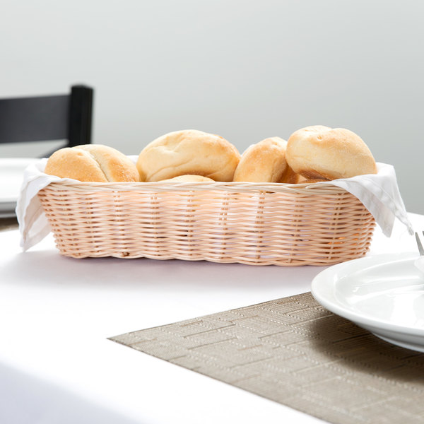 "Tablecraft 1113W 13 "" x 5"" Oblong Rattan-Like Basket Main Image 6"