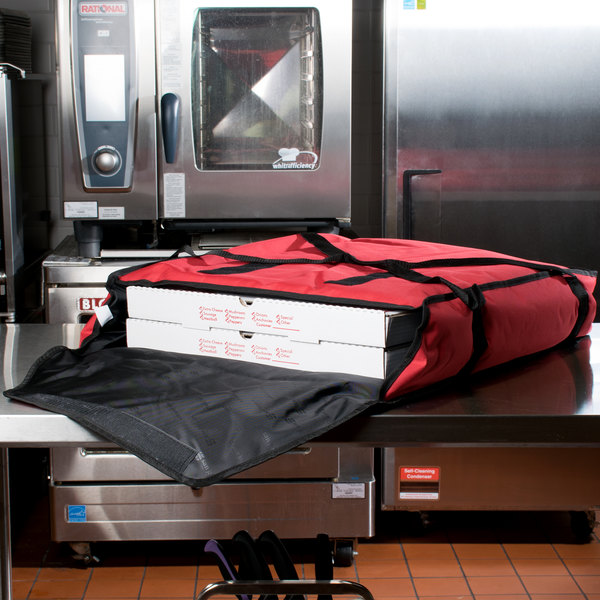 """San Jamar PB25 25"""" x 26"""" x 6"""" Nylon Insulated Red Pizza Delivery Bag"""