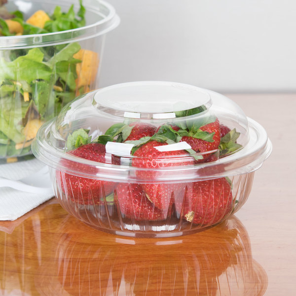 Dart PET12BCD PresentaBowls 12 oz. Clear Plastic Bowl with Dome Lid - 252/Case Main Image 4