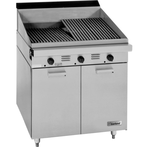 "Garland M17B Master Series Liquid Propane Range Match 17"" Briquette Charbroiler with Storage Base - 45,000 BTU"