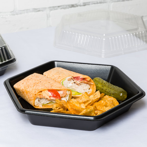 "Genpak HX010-3L Smart-Set 10 5/16"" Black Hexagonal Foam Serving Tray - 200/Case"