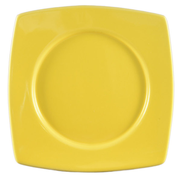 "CAC R-SQ21YW Clinton Color 11 7/8"" Yellow Round in Square Plate - 12/Case"