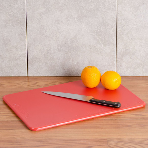 "San Jamar CB121812RD Red 12"" x 18"" x 1/2"" Cut-N-Carry Cutting Board with Hook"