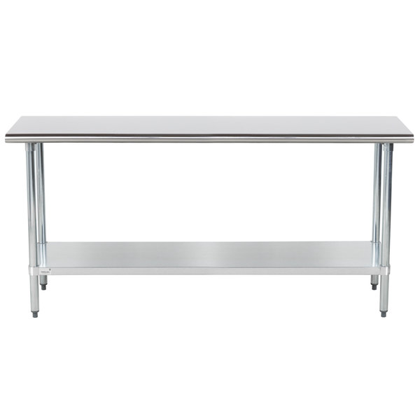 """Advance Tabco GLG-366 36"""" x 72"""" 14 Gauge Stainless Steel Work Table with Galvanized Undershelf"""