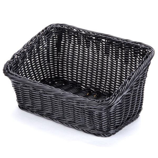 "GET WB-1510-BK Designer Polyweave Plastic Cascading Basket - Black 9 1/4"" x 13"" - 6/Pack"