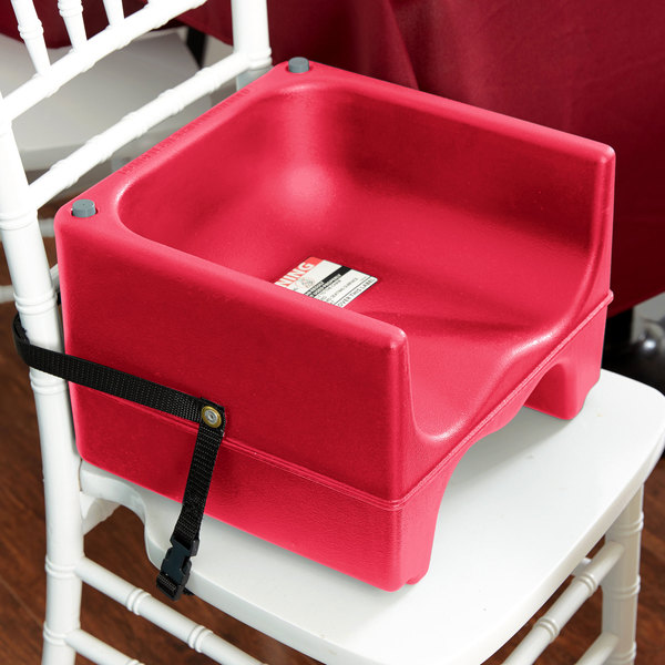 Cambro 200BCS158 Hot Red Plastic Booster Seat - Dual Seat with Strap