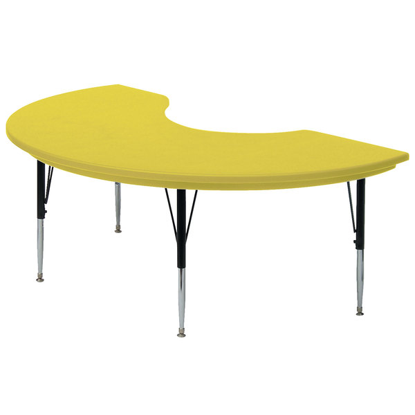 "Correll AR4872 48"" x 72"" Yellow Plastic Adjustable Height Kidney Table"