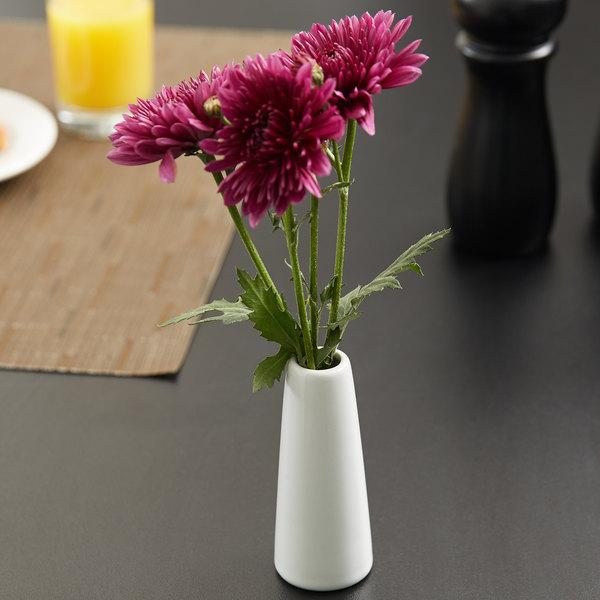 "American Metalcraft BVTG6 1 1/2"" x 4"" White Ceramic Tower Vase"
