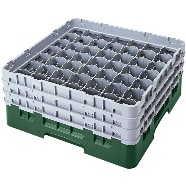 "Cambro 49S318119 Sherwood Green Camrack Customizable 49 Compartment 3 5/8"" Glass Rack"