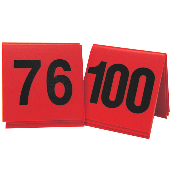 """Cal-Mil 226-3 Red/Black Double-Sided Number Tents 76-100 - 3"""" x 3"""""""