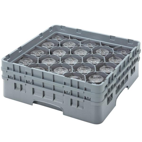 "Cambro 20S638151 Camrack 6 7/8"" High Customizable Soft Gray 20 Compartment Glass Rack"