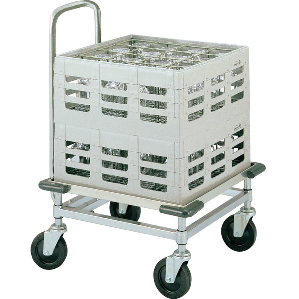 Metro CBH2121C Heavy Duty Aluminum Glass Rack Dolly with Handle and Corner Bumpers Main Image 1