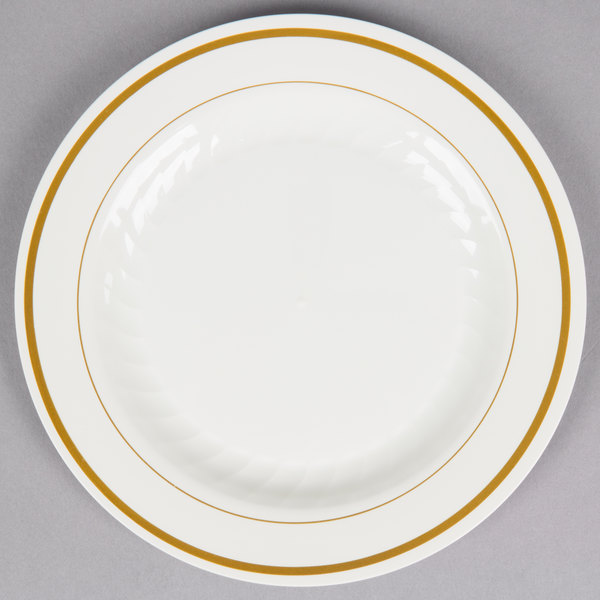 WNA Comet MP6IPREM 6 inch Ivory Masterpiece Plastic Plate with Gold Accent Bands - 150/Case