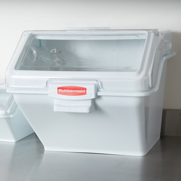 Rubbermaid FG9G5800WHT 12.6 Gallon ProSave Shelf Ingredient Storage Bin with 2 Cup Scoop