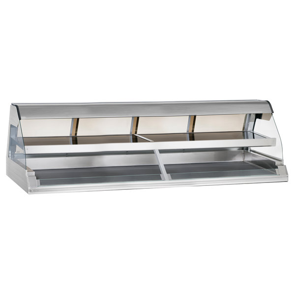 """Alto-Shaam ED2-96/2S SS Stainless Steel Two-Tiered Heated Display Case with Curved Glass - Self Service 96"""""""