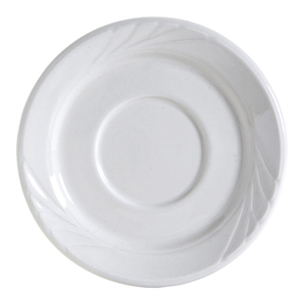 "Tuxton YPE-054 Sonoma 5 1/2"" Bright White Embossed Rim China Saucer - 36/Case"