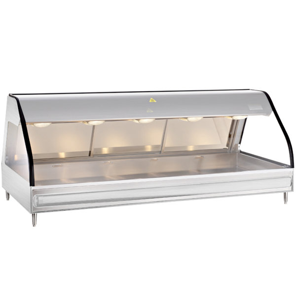 Alto-Shaam ED2 72 S/S Stainless Steel Heated Display Case with Curved Glass - Full Service Countertop 72""