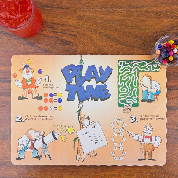 """10"""" x 14"""" Play Time Interactive Placemat - 1000/Case"""