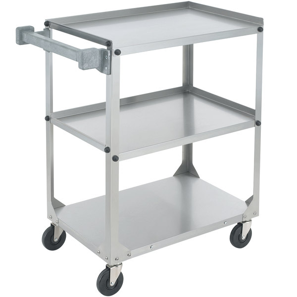 """Vollrath 97320 Knocked Down Stainless Steel 3 Shelf Utility Cart - 27 1/2"""" x 15 1/2"""" x 32 5/8"""""""