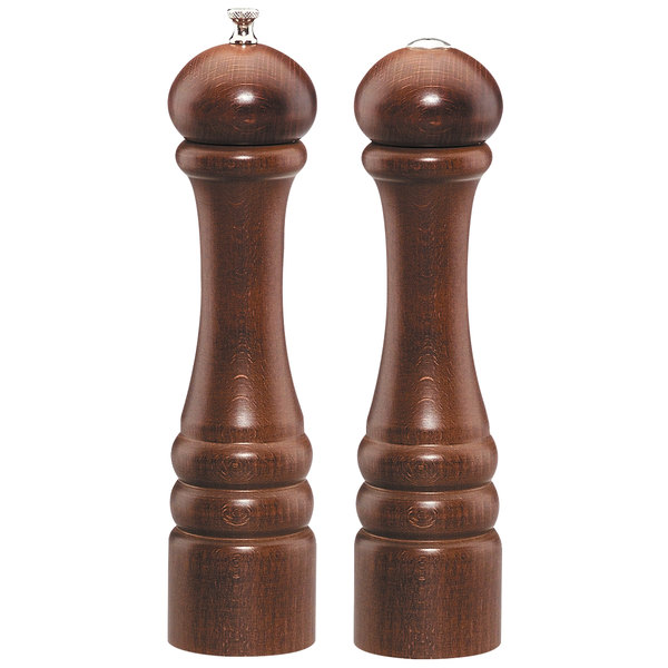 "Chef Specialties 10100 Professional Series 10"" Customizable Imperial Walnut Finish Pepper Mill and Salt Shaker"