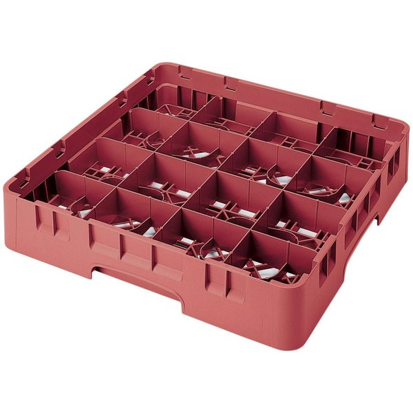 "Cambro 16S1114416 Camrack 11 3/4"" High Customizable Cranberry 16 Compartment Glass Rack"