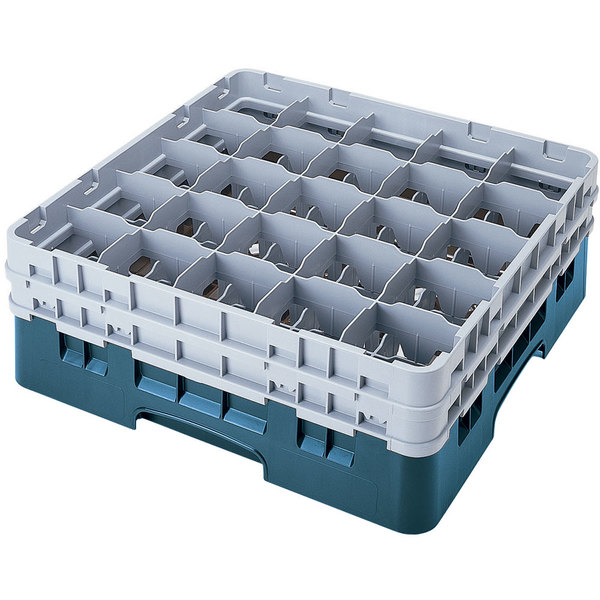 "Cambro 25S900414 Camrack 9 3/8"" High Customizable Teal 25 Compartment Glass Rack"
