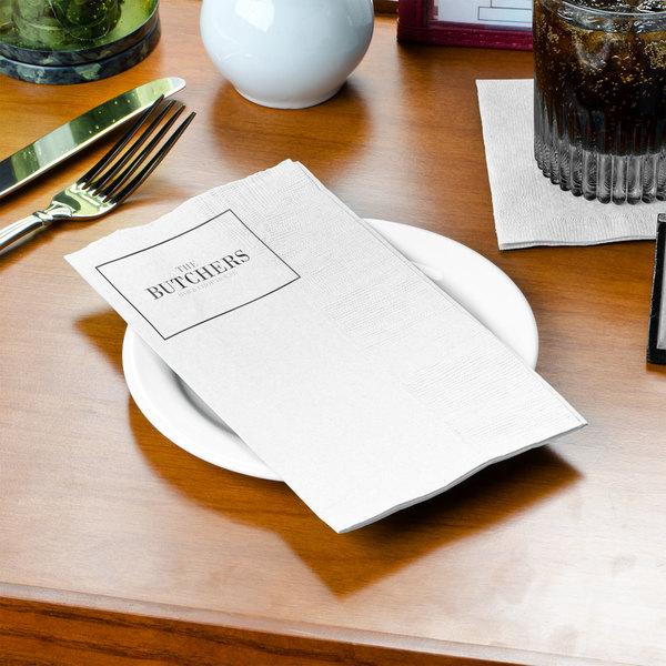 "Choice 15"" x 16 3/4"" White 2-Ply Customizable Dinner Napkin - 3000/Case Main Image 3"