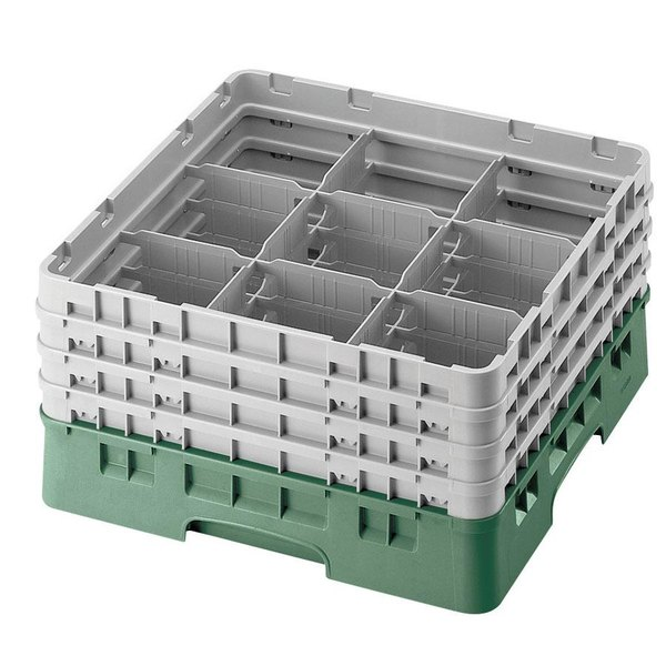 "Cambro 9S958119 Sherwood Green Camrack Customizable 9 Compartment 10 1/8"" Glass Rack"