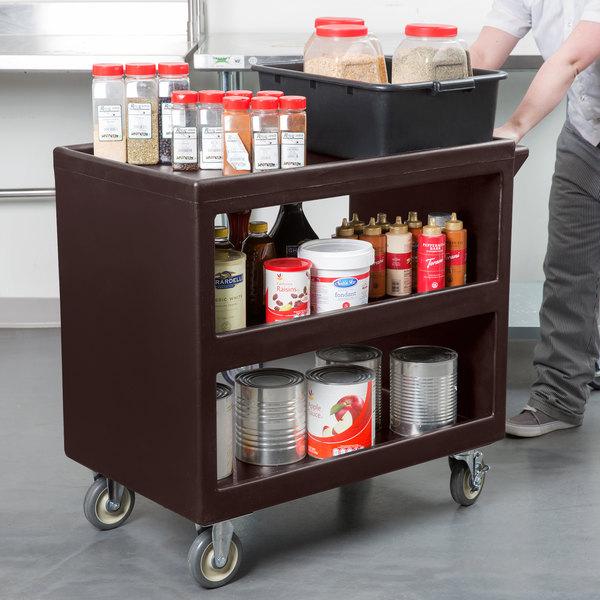 "Cambro BC235131 Dark Brown Three Shelf Service Cart - 37 1/4"" x 21 1/2"" x 34 5/4"" Main Image 3"