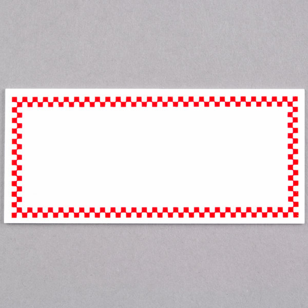 Rectangular Write On Deli Tag with Red Checkered Border - 25/Pack Main Image 1