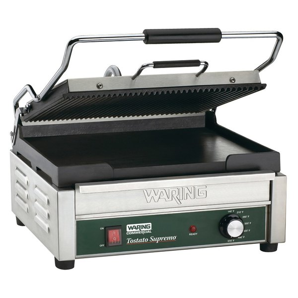 """Waring WDG250 Grooved Top & Smooth Bottom Panini Sandwich Grill - 14 1/2"""" x 11"""" Cooking Surface - 120V, 1800W"""
