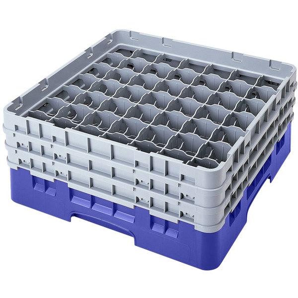 "Cambro 49S800168 Blue Camrack Customizable 49 Compartment 8 1/2"" Glass Rack"