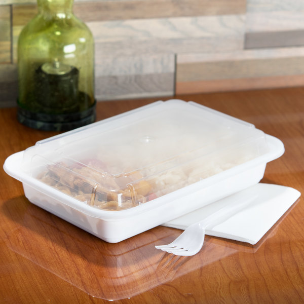 "Pactiv Newspring NC868 28 oz. White 6"" x 8 1/2"" x 1 1/2"" VERSAtainer Rectangular Microwavable Container with Lid - 150/Case Main Image 6"