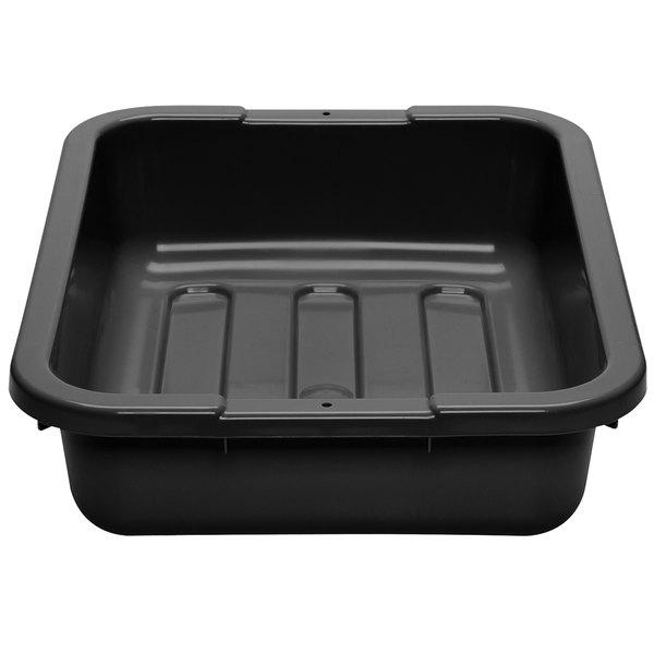 "Cambro 1520CBPL110 Poly Cambox 20"" x 15"" x 5"" Black Polyethylene Bus Box with Ribbed Bottom Main Image 1"