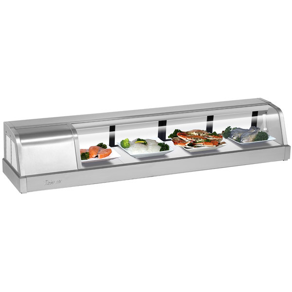 """Turbo Air SAK60L-N 60"""" Stainless Steel Curved Glass Refrigerated Sushi Case - Left Side Compressor"""