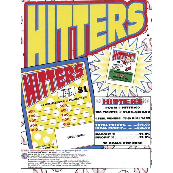"""Hitters"" 1 Window Pull Tab Tickets - 100 Tickets Per Deal - Total Payout: $75"