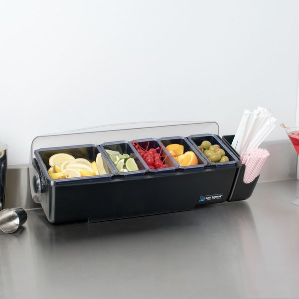 San Jamar BD4005E The Dome 5-Compartment Condiment Bar with Snap-On Caddy