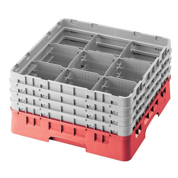 "Cambro 9S434163 Red Camrack Customizable 9 Compartment 5 1/4"" Glass Rack"