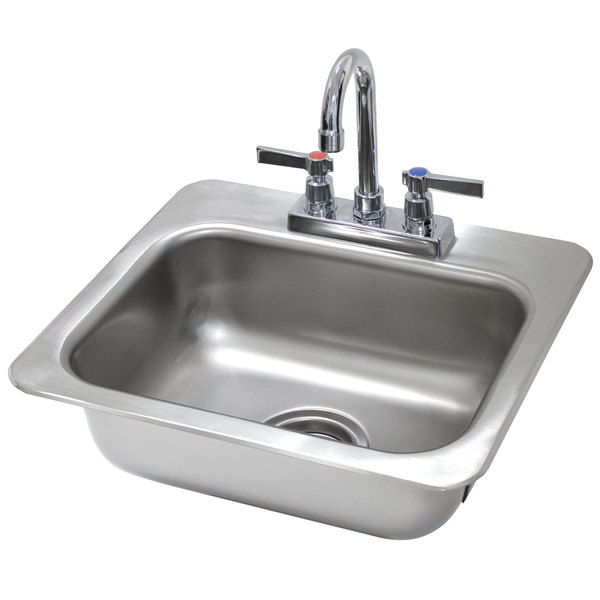 """Advance Tabco DI-1-35 Drop In Stainless Steel Sink - 14"""" x 10"""" x 5"""" Bowl"""