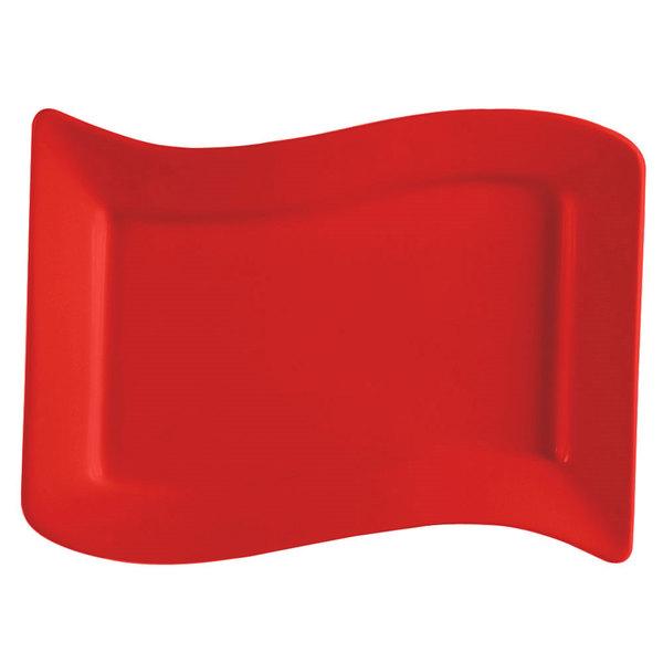 "CAC SOH-14R Color Soho 13 1/2"" x 8 7/8"" Red Rectangular Stoneware Platter - 12/Case"