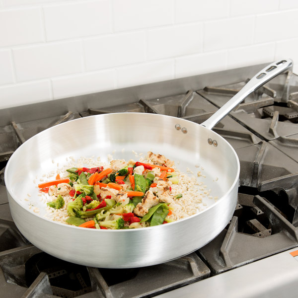 Vollrath 67137 Wear-Ever 7.5 Qt. Straight Sided Aluminum Saute Pan with TriVent Chrome Plated Handle Main Image 2