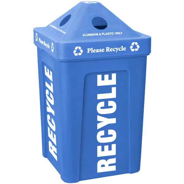 IRP 1070 Blue Stacking Pyramid Lid Recycle Bin - 48 Gallon